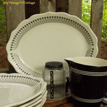 Vintage Syracuse China Platters - Set of Six - Fleur de Lis Pattern - Black Lace Essex - Restaurant Ware