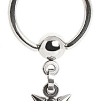 316L Surgical Steel Captive Bead Ring with Mace Ball