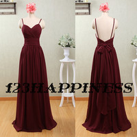 Burgundy Bridesmaid dress,Long Prom Dress Sweetheart Sleeveless zipper Back Chiffon long Bridesmaid Dress  Burgundy Prom Dress long