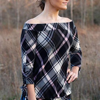 Plaid off the shoulder top with tie sleeves - Gray