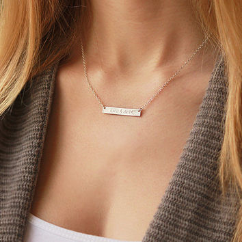 Bar Necklace - Personalized Name Plate Necklace, Layered Necklace, Gold Bar Necklace, Gold Name Bar Necklace, Custom Name Jewelry, nameplate