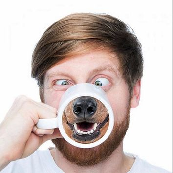Funny Dog Nose Coffee Tea Milk Mug Innovative Pet Doggy Nose Ceramic Water Cup Gift