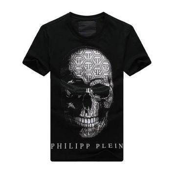 2017 Men Summer New Brand Men's Round Neck Short Sleeve Fashion T-shirt Printing Spoof Skull tees Tops drilling Hot T shirt Men