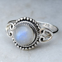 Moonstone ring Size 7 To Size 8, silver ring, stone ring, Rainbow ring, 925 sterling silver ring, stone ring, RNSLMN3