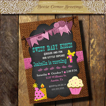 First Birthday invitation Chalkboard Burlap Cupcake Photo 1st 2nd 3rd 4th 5th Cake Pink Turqious Hot Pink Baby Shower Bridal