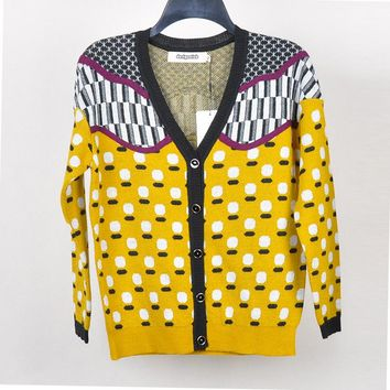 2018 Autumn New Arrivals Long Sleeve V-neck Single Breasted Cardigans Yellow Dot Pattern Keep Warm Women Wool Sweater FKXW03