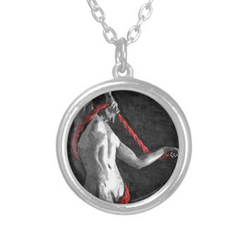 Got tangled in red ropes bondage bdsm artwork silver plated necklace