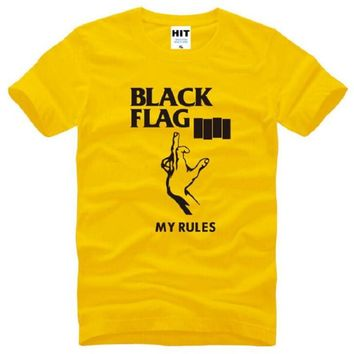 New Arrival Black Flag My Rules Men's T Shirt Punk Rock Band Black Flag T-shirt Tops Short Sleeve O-neck Cotton T Shirt Men