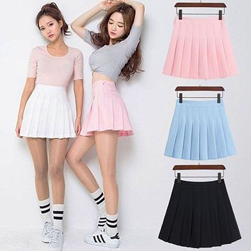 2017 New Spring high waist ball pleated skirts Harajuku Denim Skirts solid a-line sailor skirt Plus Size Japanese school uniform