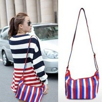 Elite Leather Bags — Handmade Leather Women's Handbag Shoulder Bag in Splicing Leather-stripe bags