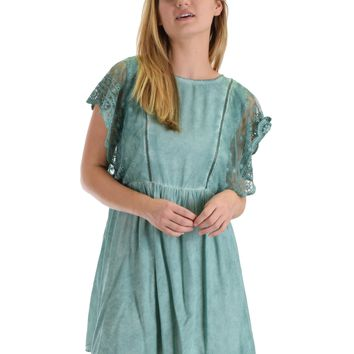 SL3536 Green Short Sleeve Mineral Wash Swing Dress With Lace Sleeves