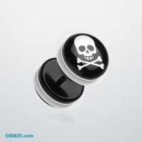 Pirate Crossbone Acrylic Faux Gauge Plug Earring