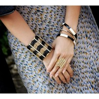Supermarket: Black and gold chevron beaded cuff from Jenny Dayco