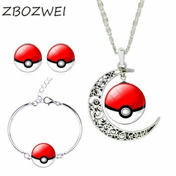 ZBOZWEI Silver  Jewelry Set Fashion Picachu Pokeball Glass Cabochon Statement Necklace Stud Earrings & Bracelet WomenKawaii Pokemon go  AT_89_9
