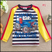 America and Europe pop Spring and autumn Pure cotton boy Long sleeve T shirt , Children's cartoon clothes #1,#2-#4 (5pcs/lots)