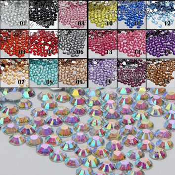 1000pcs 2mm FlatBack 14 Facet Rhinestones DIY Nail Art Mobile Phone SS6 Loose Beads Stones Crystal AB 18 Colors for Slection