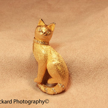 Christian Dior Signed Cat Kitty figural Brooch Swarovski Crystal Vintage