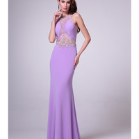 Lavender Sheer Beaded Bodice Gown 2015 Prom Dresses