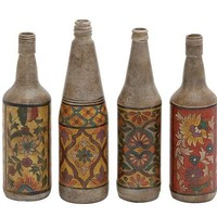 A.M.B. Furniture & Design :: Accessories :: Misc. Accessories :: Terracotta Bottles Set of Four with Beautiful Floral Hand Paintings