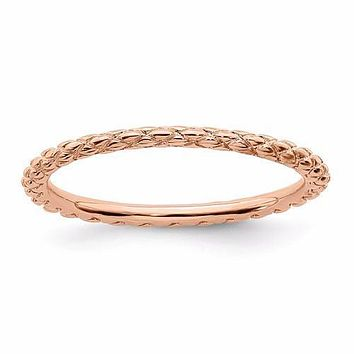 Rose Gold Sterling Silver Stackable Expressions Criss Cross Pattern Ring