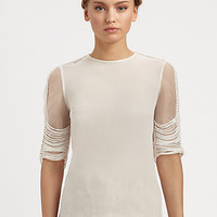 HONOR - Silk Georgette Macramé Top