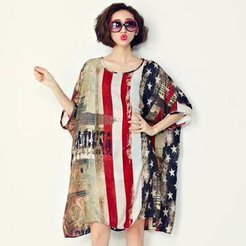 Light Chiffon American Flag Pattern Large One Size Beach Dress