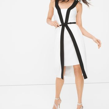 White House | Black Market Contrast Fit-and-Flare Dress