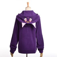 Anime Sailor Moon Hoodie Women Cartoon Casual Luna Cat Ears Hooded Fleece Coat Zipper Sweatshirt Jacket Outwear White/Purple