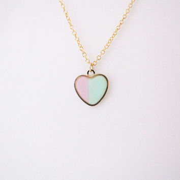 Pastel pink ,mint heart  necklace. Minimalistic necklace.  Geo necklace Valentines day