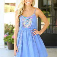 Globe Trotting Dress - Blue