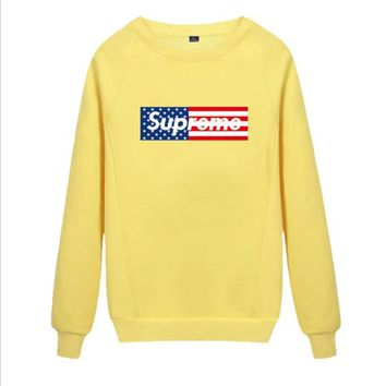 Supreme Round collar female loose couple costume Sweater Flage Yellow