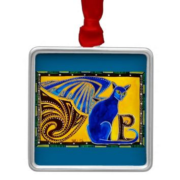 Winged Feline Hybrid Warrior Cat Design Metal Ornament
