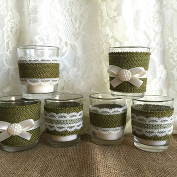 6 Moss green burlap and lace covered votive tea candles, country chic wedding decoration, bridal shower decor or home decor, vintage style