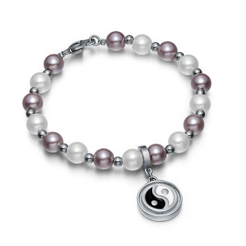 Amulet Positive Powers Simulated Pearl Purple and White Yin Yang Magic Circle Energy Elegant Bracelet