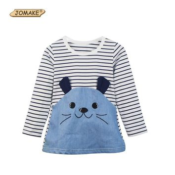 Summer Spring Girls Costume For Kids Dresses For Girls Princess Dress Cute Cartoon Rabbit vestido infantil Stripes Girl Dress