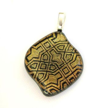 Hieroglyphic Gold Dichroic Fused Glass Pendant by mysassyglass