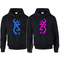 Hoodie Trendy - Browning Deer LOVE Couples Hoodie available in Gray, White, Black, Green, and Red