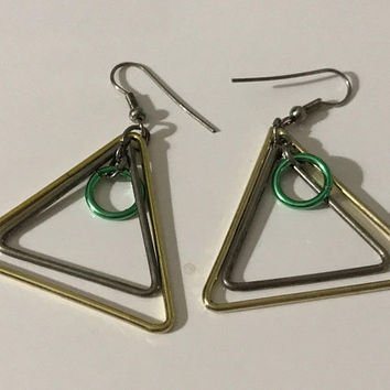Vintage Metallic Geometric Hook Earrings / Silver Green Yellow Abstract Shapes / Circle Ring Inside Two Triangles / Retro Dangle Earrings