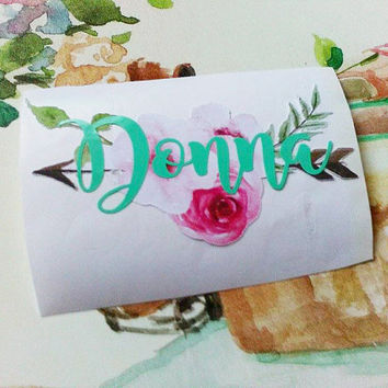 Watercolor Flower Name Decal, Boho Floral Arrow Sticker, Flowers and Feathers, Tumbler Decal, Peony Flower, Festival