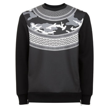 Black Camo Neoprene Crewneck by Neil Barrett