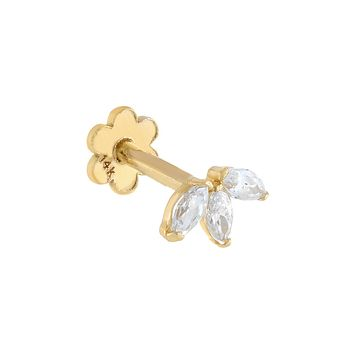 Tiny CZ Marquis Threaded Stud Earring 14K