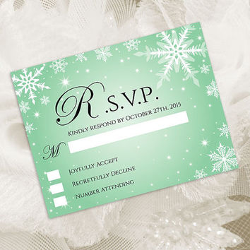 DIY Printable Wedding RSVP Template | Editable MS Word file | 5.5 x 4.25 | Instant Download | Winter White Snowflakes Green Mint