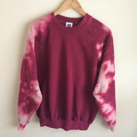 Tie Dye Bleached Wine Red Burgundy Sweatshirt Jumper