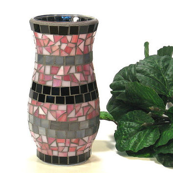 Stained glass mosaic vase pink black and by threesisterscandles