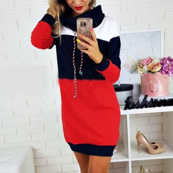 Women'S High-Necked Long-Sleeved Sweater Dress