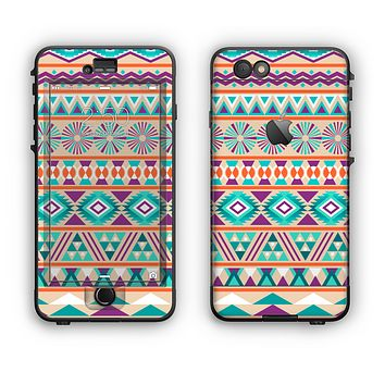 The Tan & Teal Aztec Pattern V4 Apple iPhone 6 LifeProof Nuud Case Skin Set