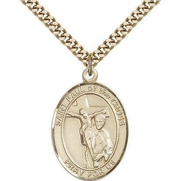 """Saint Paul Of The Cross Medal For Men - Gold Filled Necklace On 24"""" Chain - 3... 617759675924"""