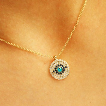 Evil eye necklace, silver evil eye jewelry cubic zirconia gold statement necklace turkish eye necklace gem traditional arabic jewelry