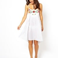 ASOS Floral Embroidered Cotton Beach Dress - White