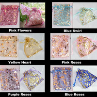 "12 Organza Bags, Large Hearts and Roses 3.5"" x 4.5"" - Dozen - Choice of Colors, Gift Pouch, Drawstring Jewelry Bag, Flowers"